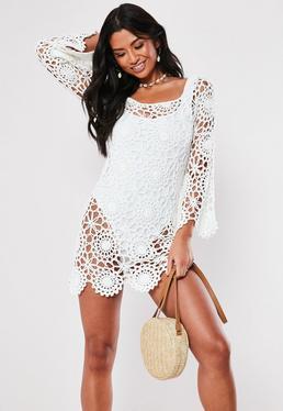 Белое мини-платье с длинными рукавами и кружевной отделкой Bardot