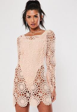 51689f65684 Pink Crochet Bardot Flare Sleeve Mini Dress