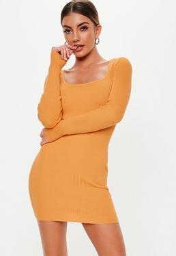 5f2adc68d643 ... Orange Square Neck Long Sleeve Knitted Mini Dress