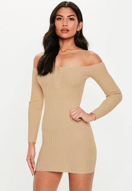 ce03b0720a69 ... Camel Popper Bardot Knitted Mini Dress