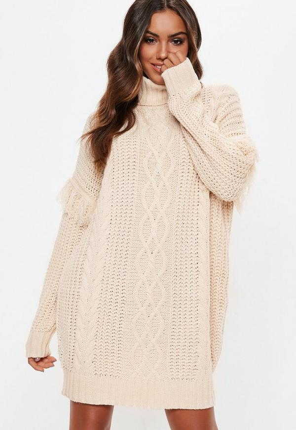 838cbcb76676 ... White Roll Neck Knitted Jumper Dress. Previous Next