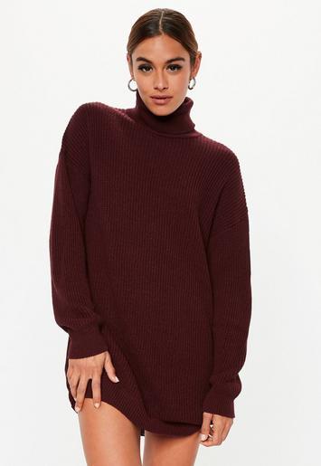 2a026ce2bd3e Burgundy Roll Neck Knitted Sweater Dress