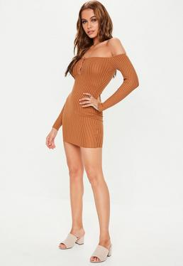 6b445ab96f11 Brown Popper Front Bardot Knitted Mini Dress