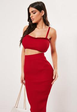 13fc5bf87d2df Red Co Ord Frill Cami Knitted Bralet