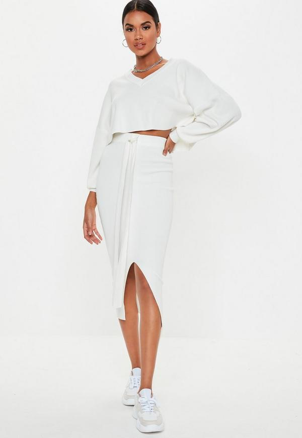 2850aee1e13 White V Neck Knitted Co Ord Jumper by Missguided