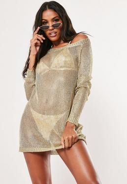 84aa6104dde9 Gold Metallic Off Shoulder Jumper Dress