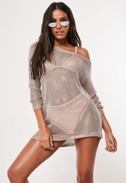 73b9b108f57 Rose Gold Metallic Off Shoulder sweater Dress