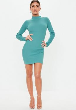 aee6743fc2b ... Blue High Neck Knitted Mini Dress