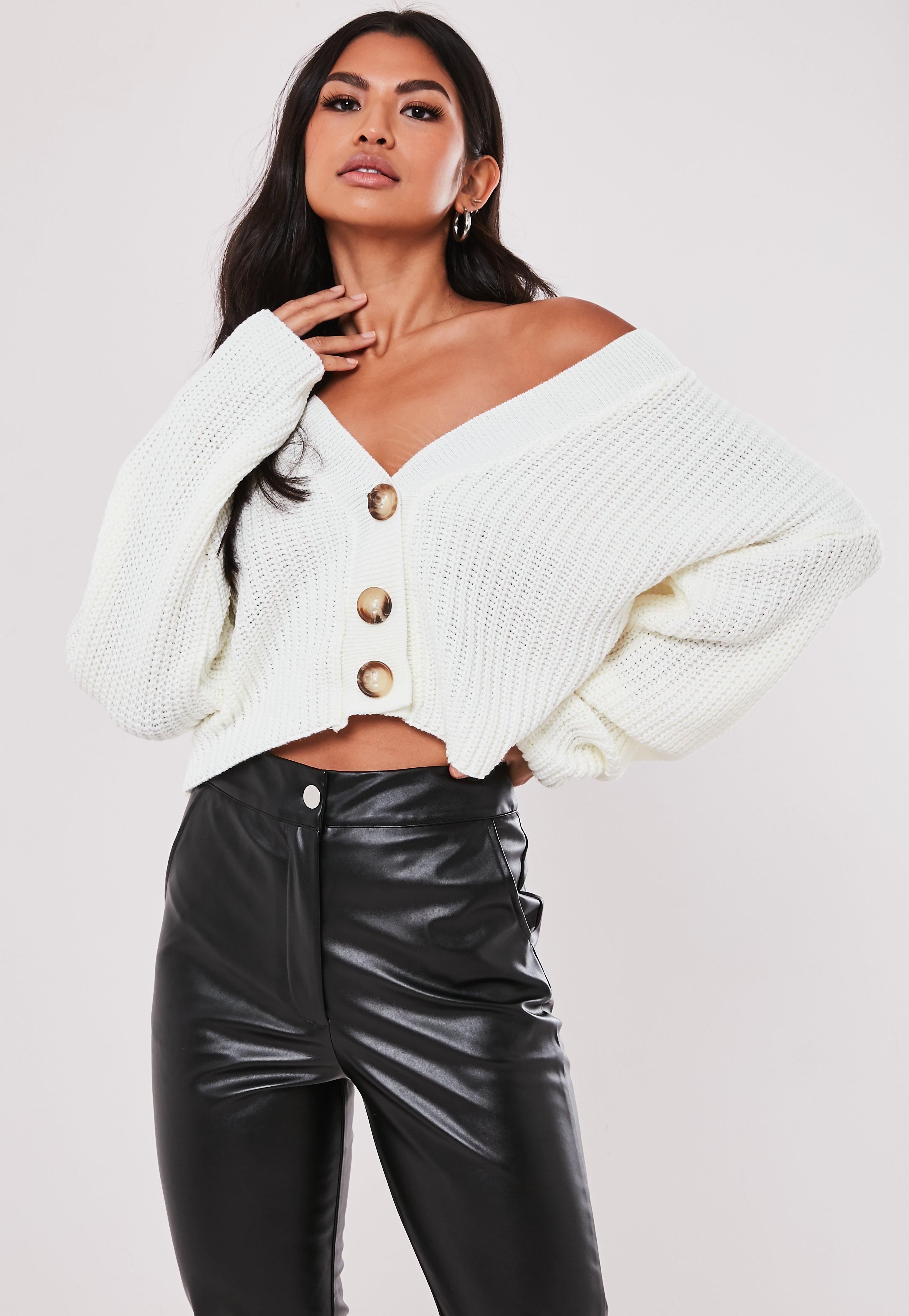 Cream Boxy Button Crop Cardigan by Missguided