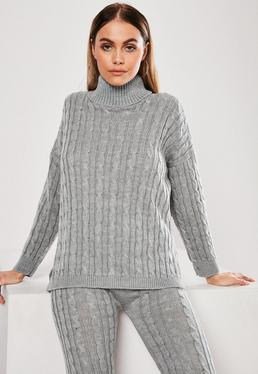 a3b684fcee Grey Cable Knit Roll Neck Co Ord Jumper