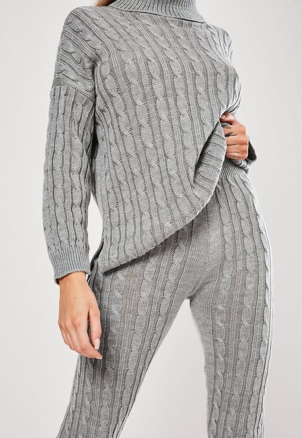 Grey Cable Knit Co Ord Leggings Missguided