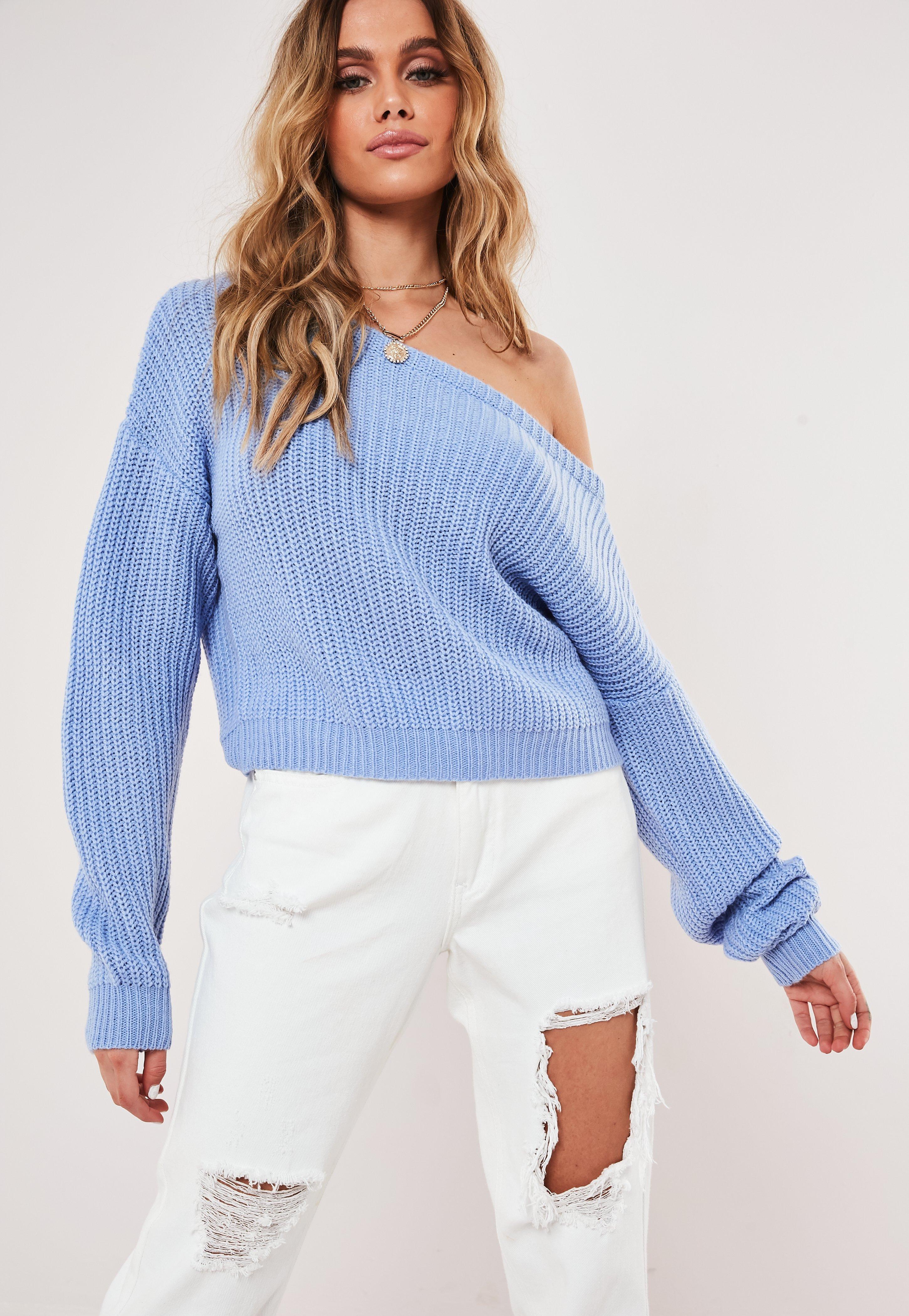 8238d389e61 Blue Crop Off The Shoulder Knitted Jumper