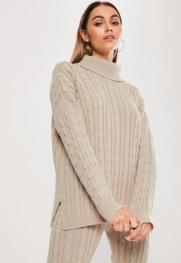 75bb1f98a Camel Off Shoulder Balloon Sleeve Jumper · Stone Cable Knit Roll Neck Co  Ord Jumper