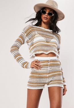 Укороченный кофточкой White Tonal Stripe Crochet