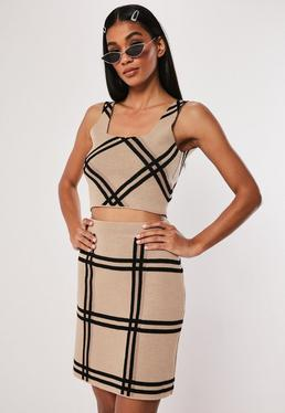 73dc424429 ... Stone Check Knitted Co Ord Bralet
