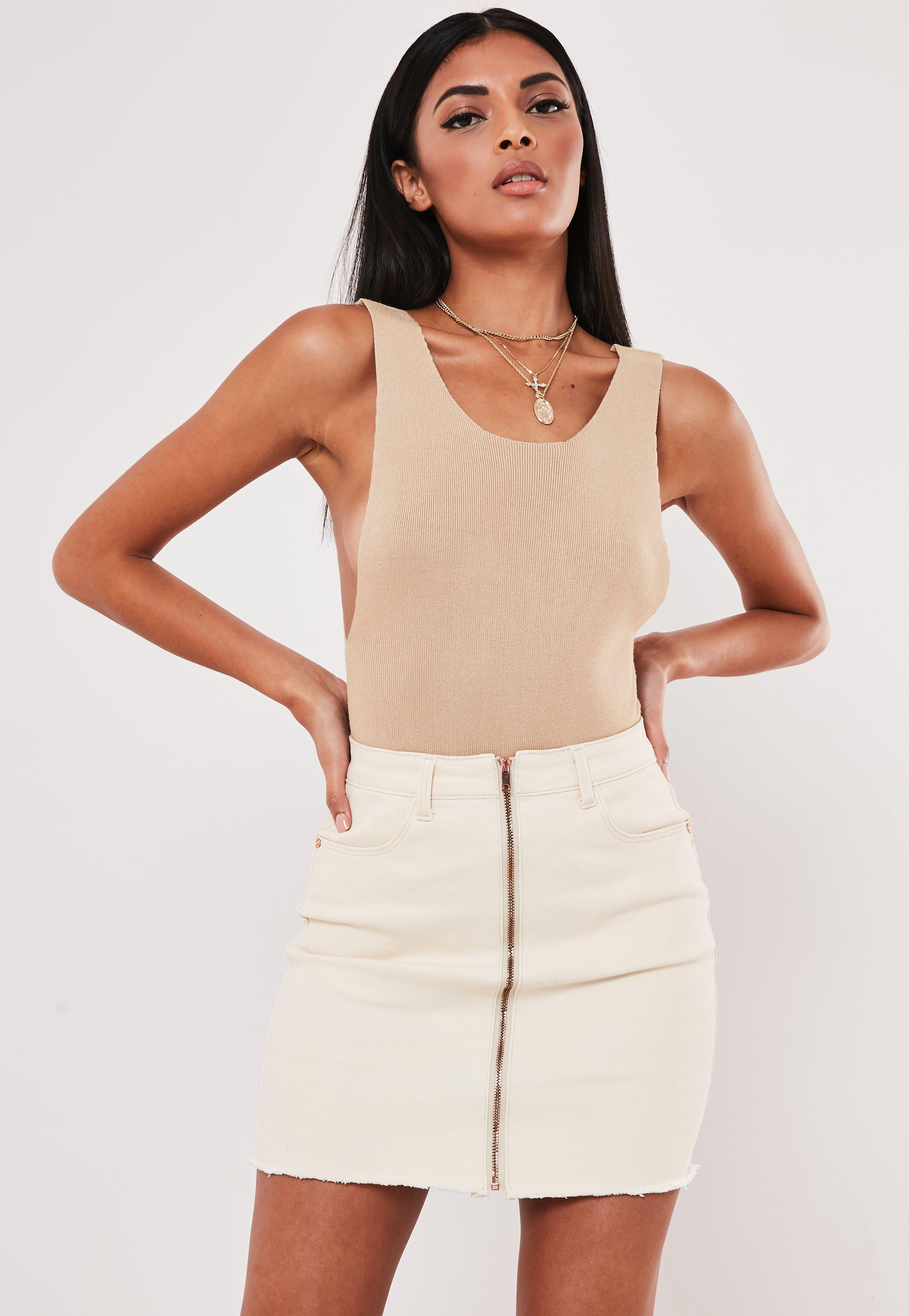 Camel Extreme Side Scoop Knitted Bodysuit by Missguided