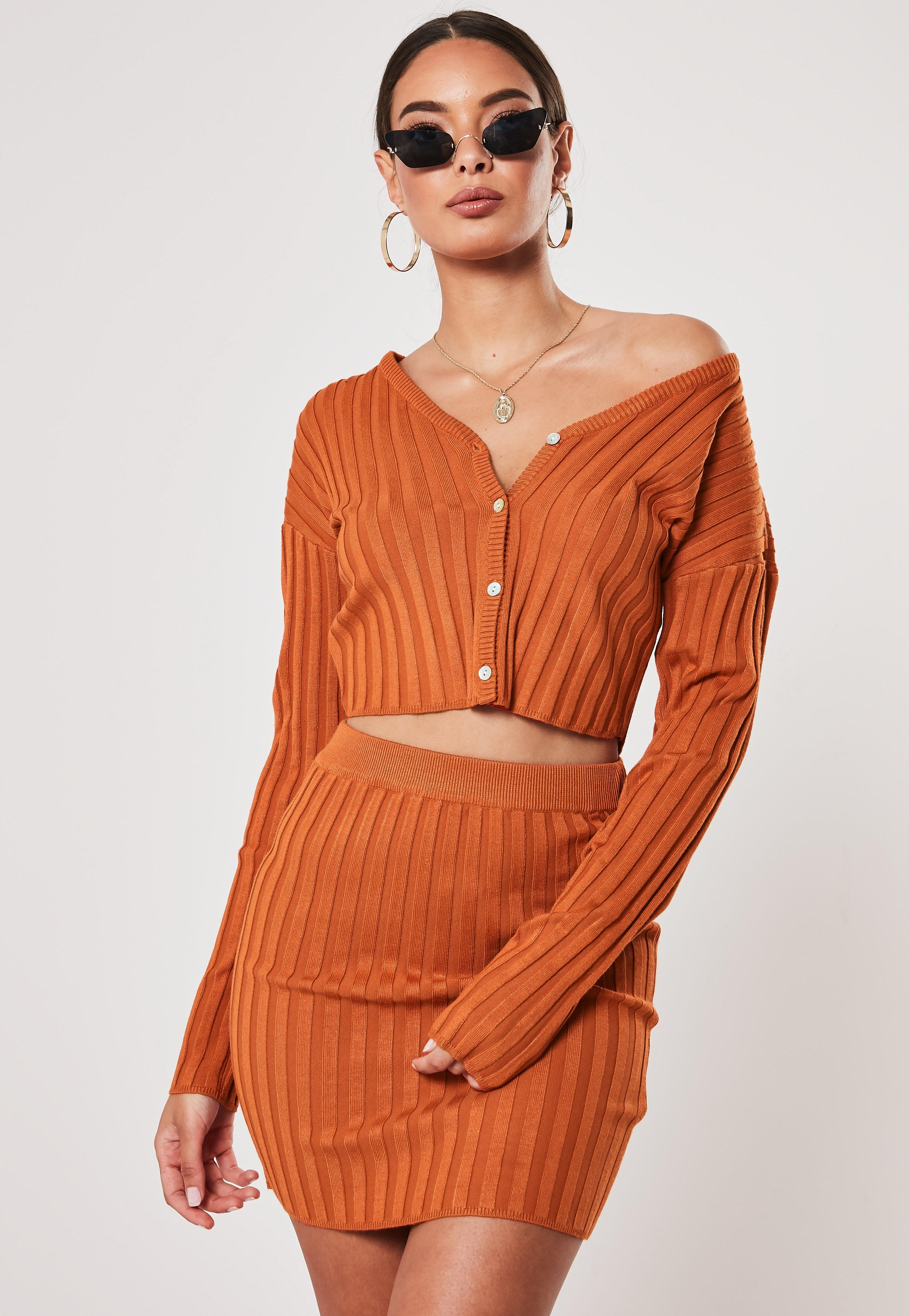 Rust Co Ord Knitted Crop Cardigan by Missguided