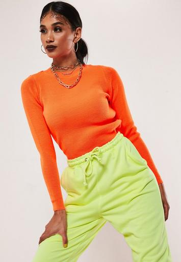 Neon Orange Knitted Crew Neck Jumper by Missguided