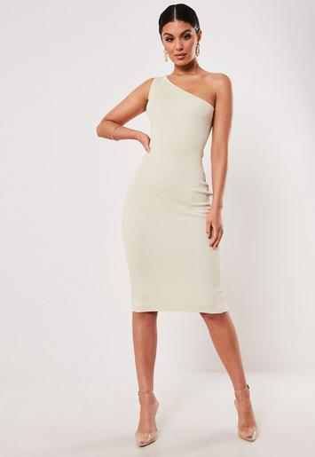 Sand One Shoulder Knitted Midi Dress by Missguided