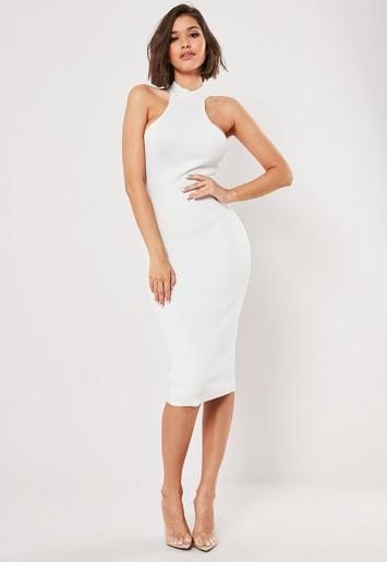 white-rib-racer-neck-knitted-midi-dress by missguided