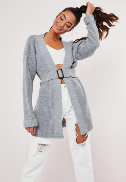 a2c54c87ded0c5 Cream Belted Stripe Cricket Cardigan; Gray Horn Belt Chunky Knitted Cardigan