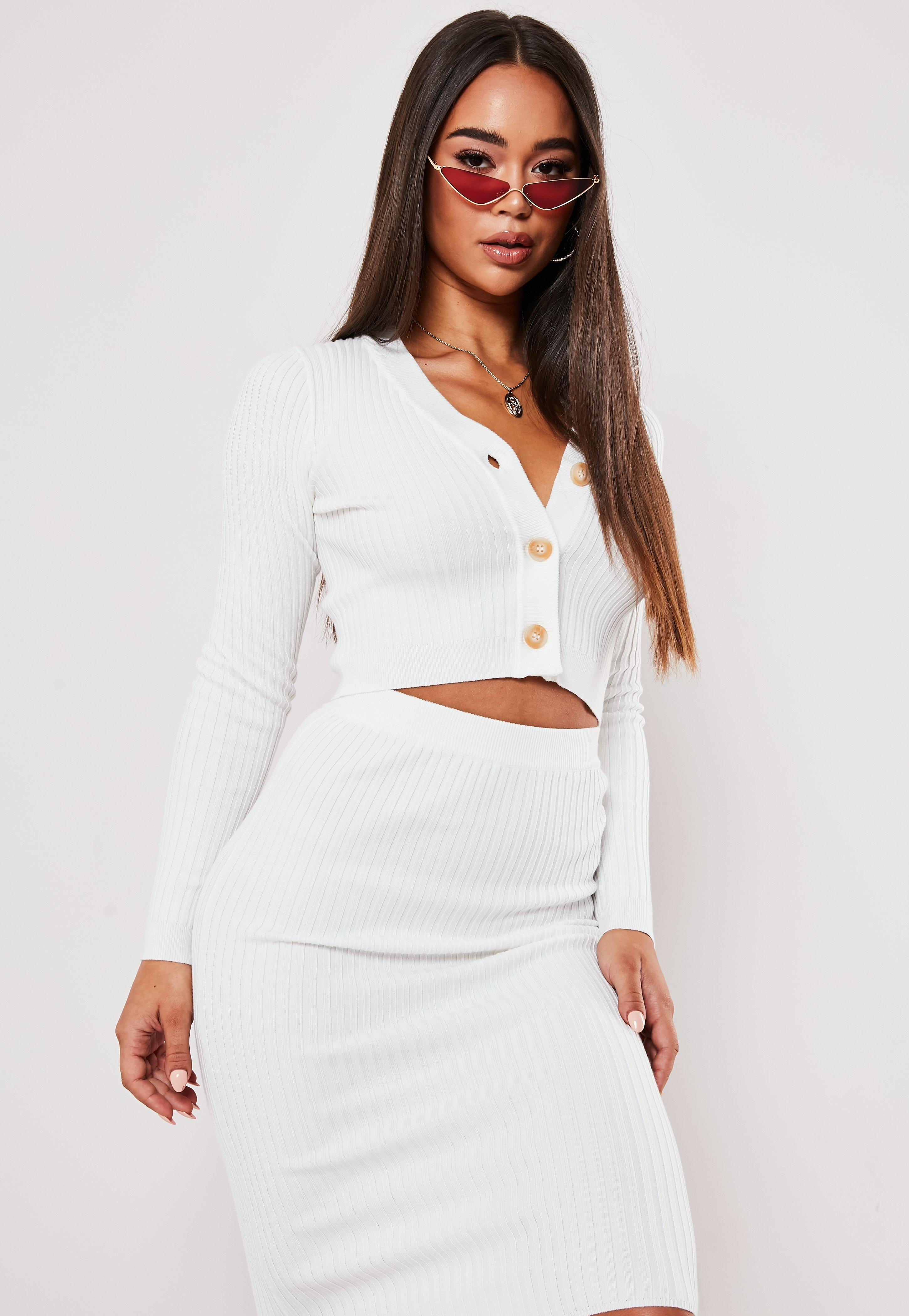 Cream Co Ord Rib Horn Button Knitted Crop Cardigan by Missguided