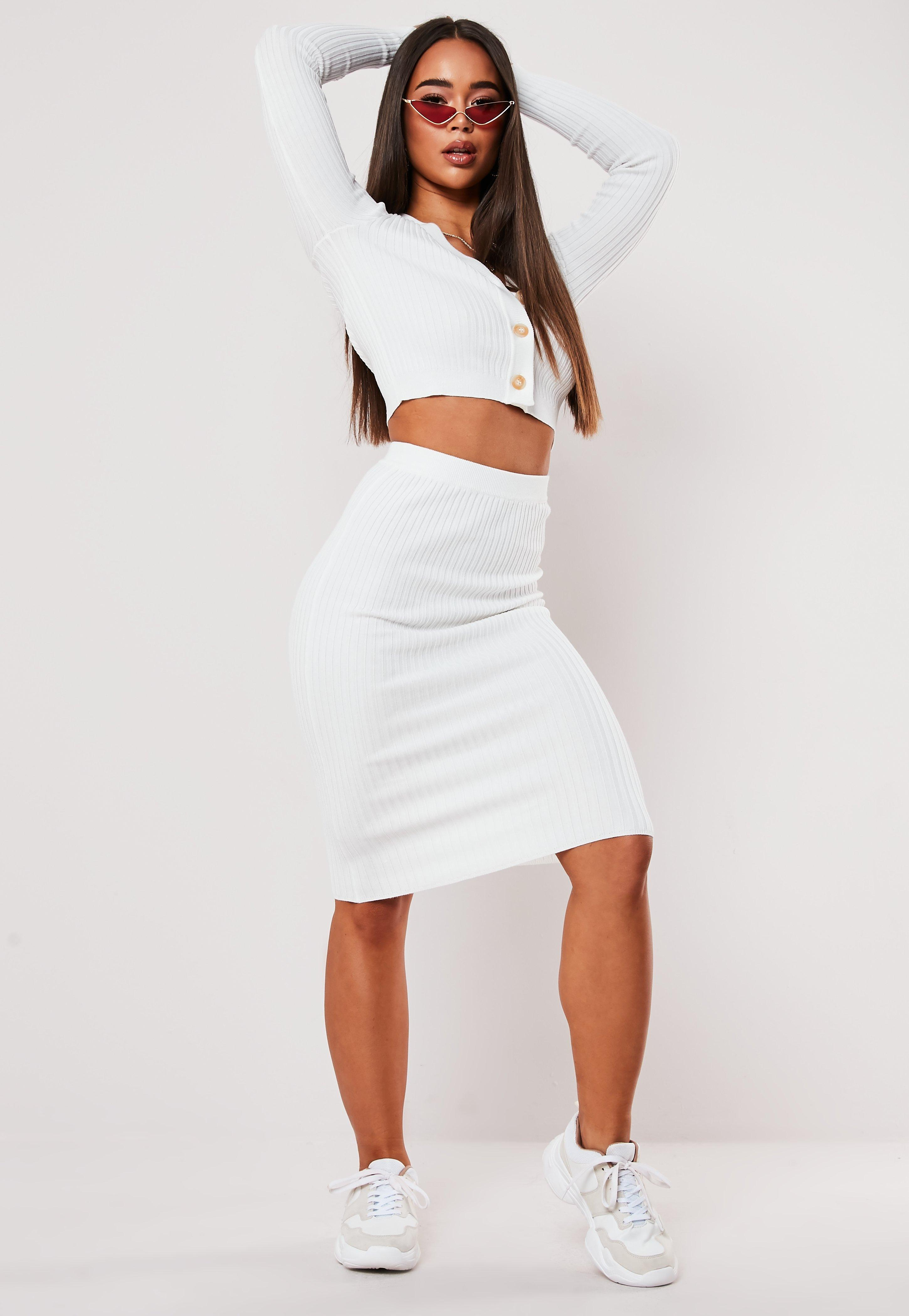 Cream Co Ord Rib Midi Skirt by Missguided