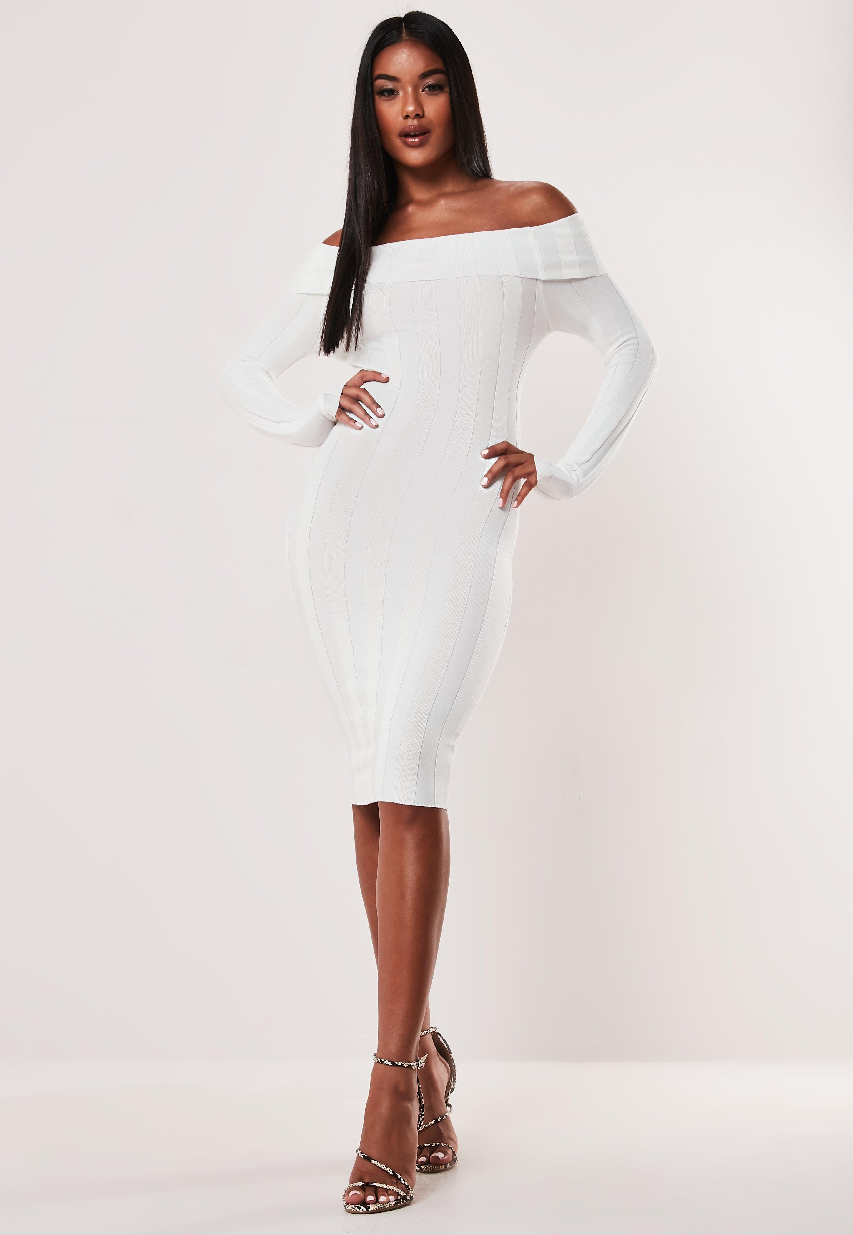 6407812b53 White Extreme Rib Bardot Knitted Midi Dress