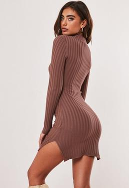 Mocha Ribbed High Neck Knitted Mini Dress