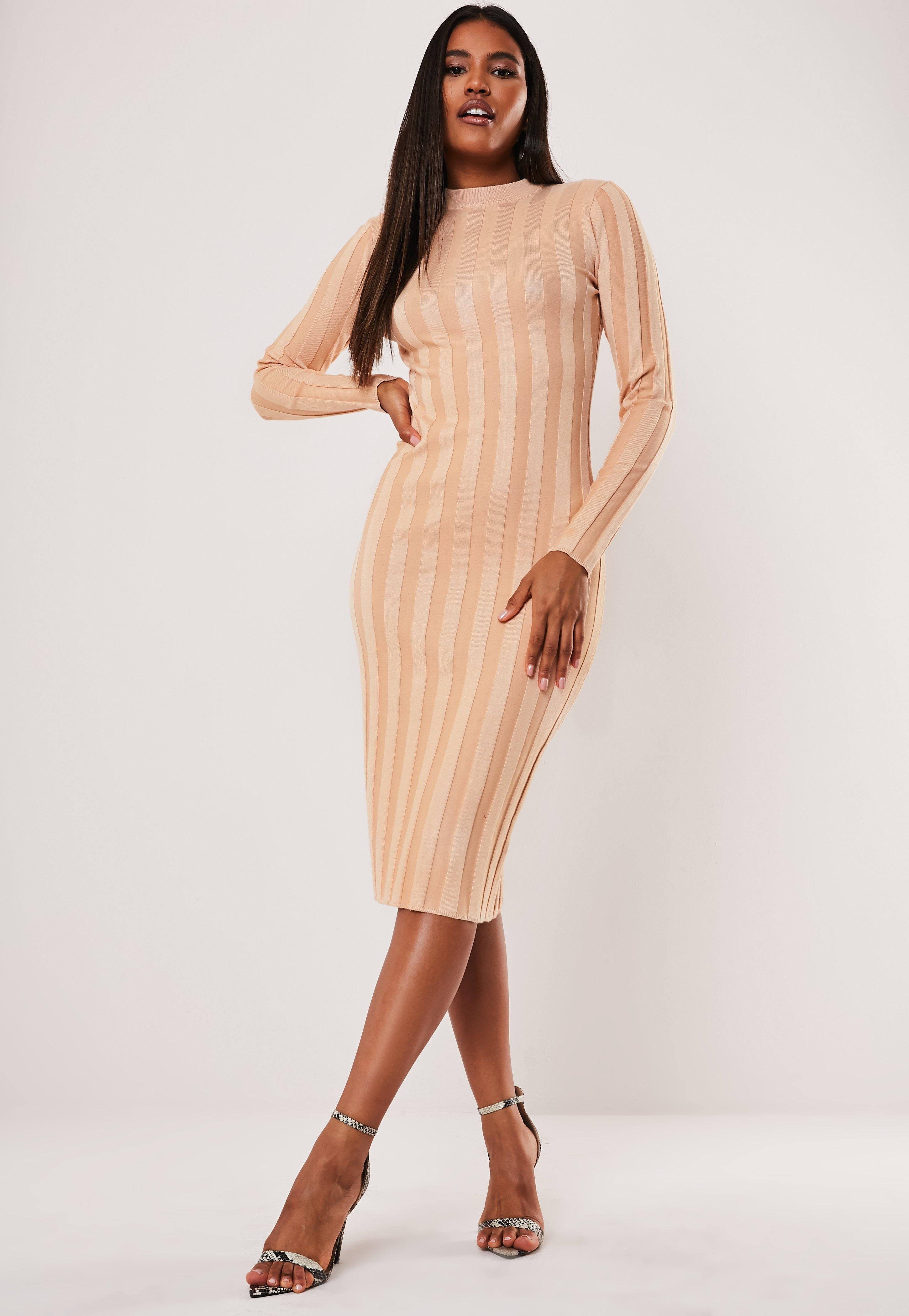 92f651e5787 Nude Crew Neck Extreme Rib Midi Dress