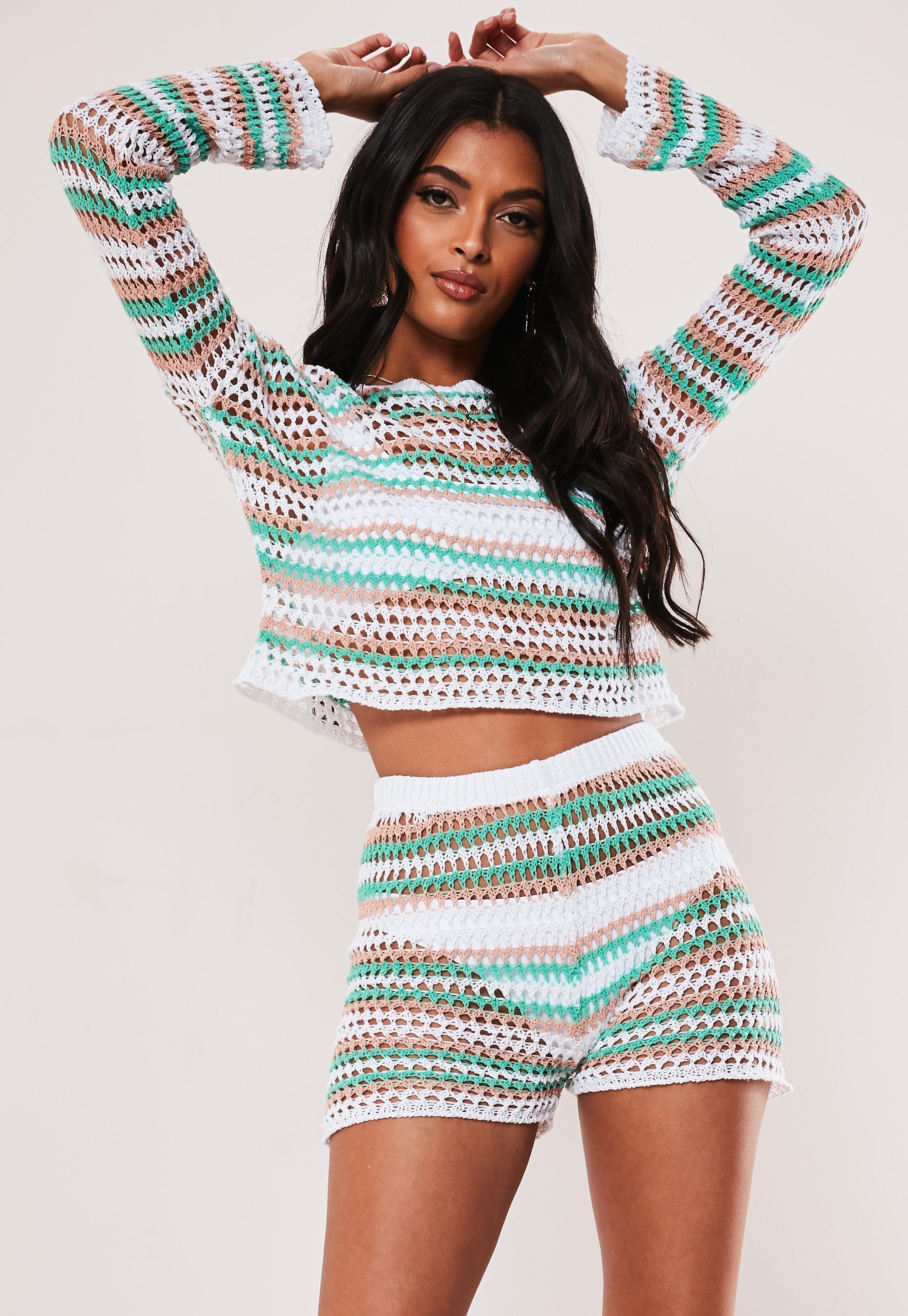 0c8232bee3a White Co Ord Pastel Stripe Crochet Shorts