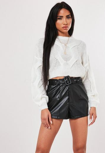 White Crew Neck Balloon Sleeve Cable Knit Jumper by Missguided