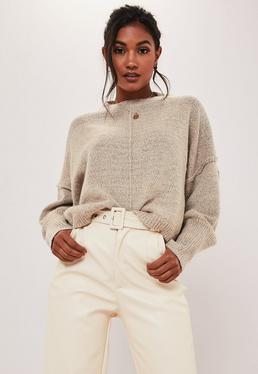 stone oversized seam front wide sleeve jumper