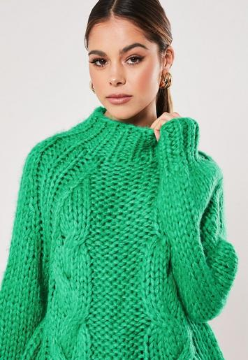 Premium Green Funnel Neck Knitted Jumper by Missguided