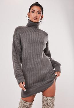 grey oversized boyfriend roll neck jumper dress