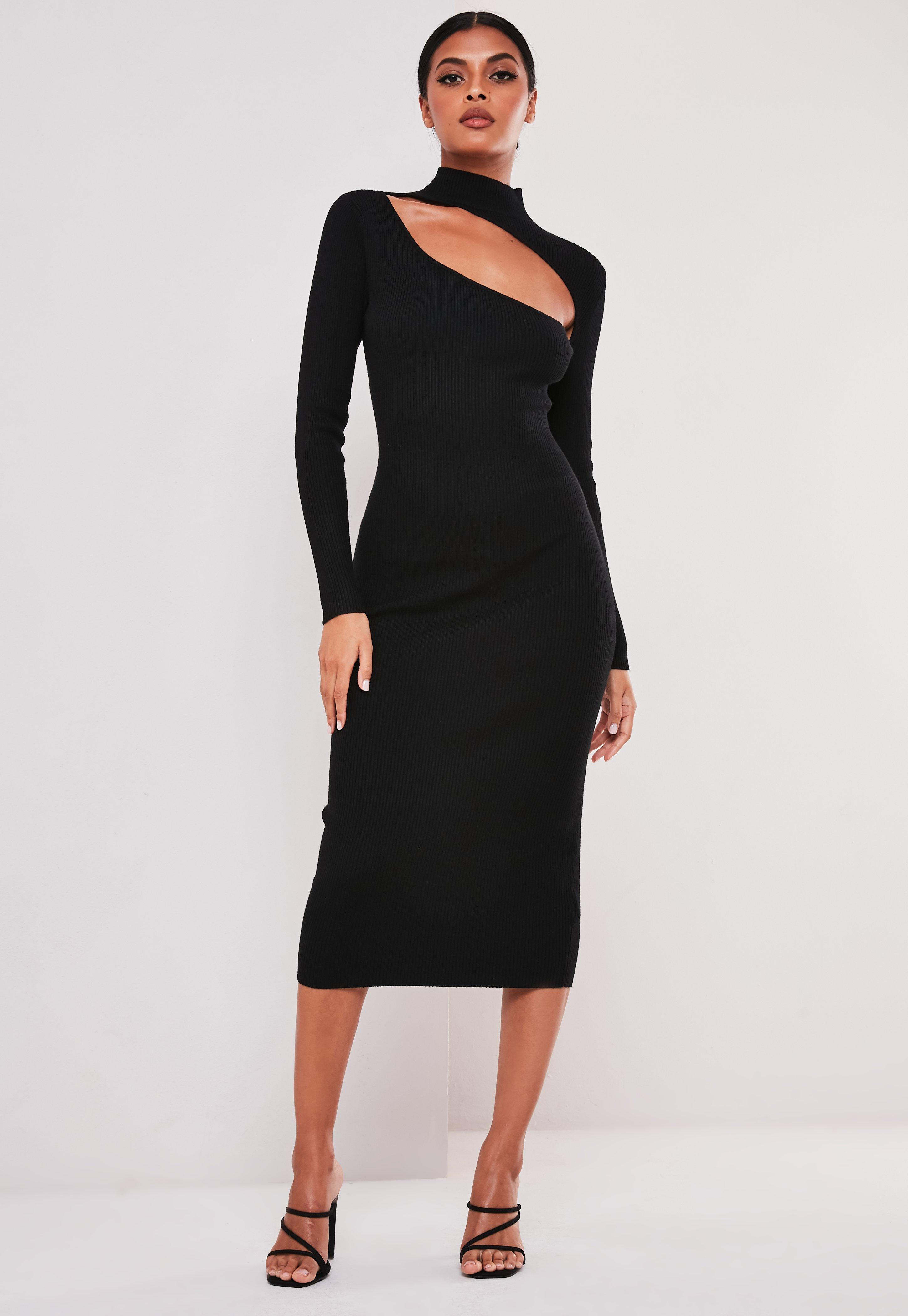 Black Cut Out High Neck Knitted Midi