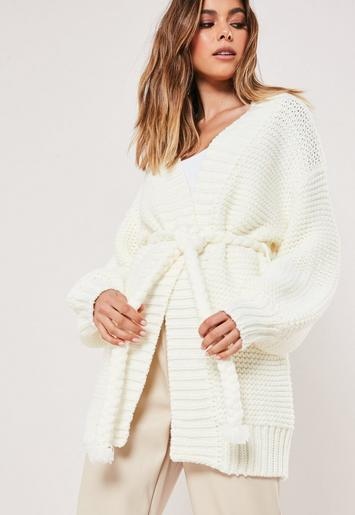 Premium White Knitted Rope Belted Cardigan by Missguided
