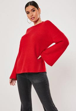 red Rib Wide Sleeve Knitted Jumper