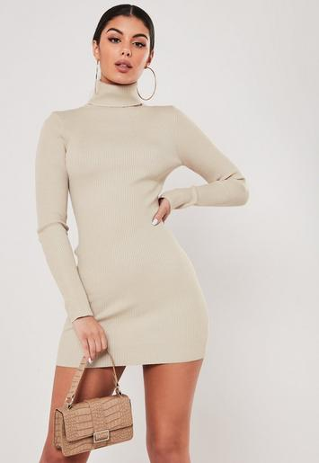 Stone Roll Neck Bodycon Knit Mini Dress Missguided