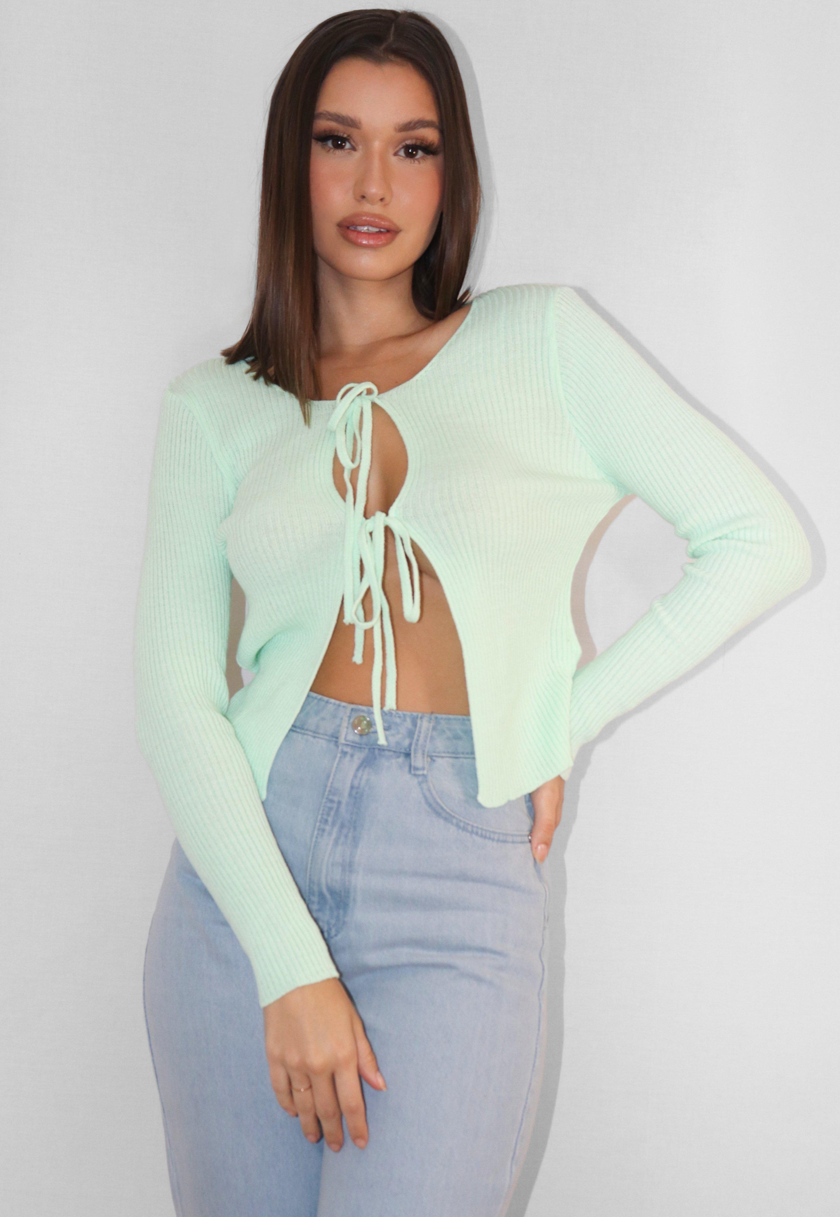 Green Rib Double Tie Front Knitted Cardigan