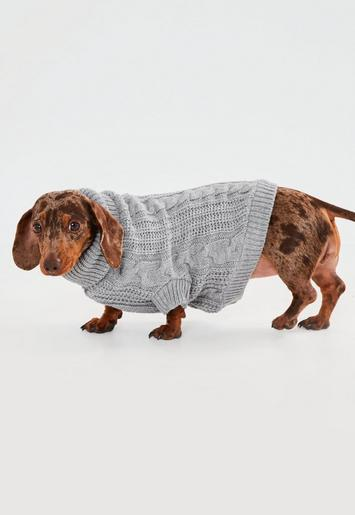Grey Cable Knit Dog Jumper Missguided Australia
