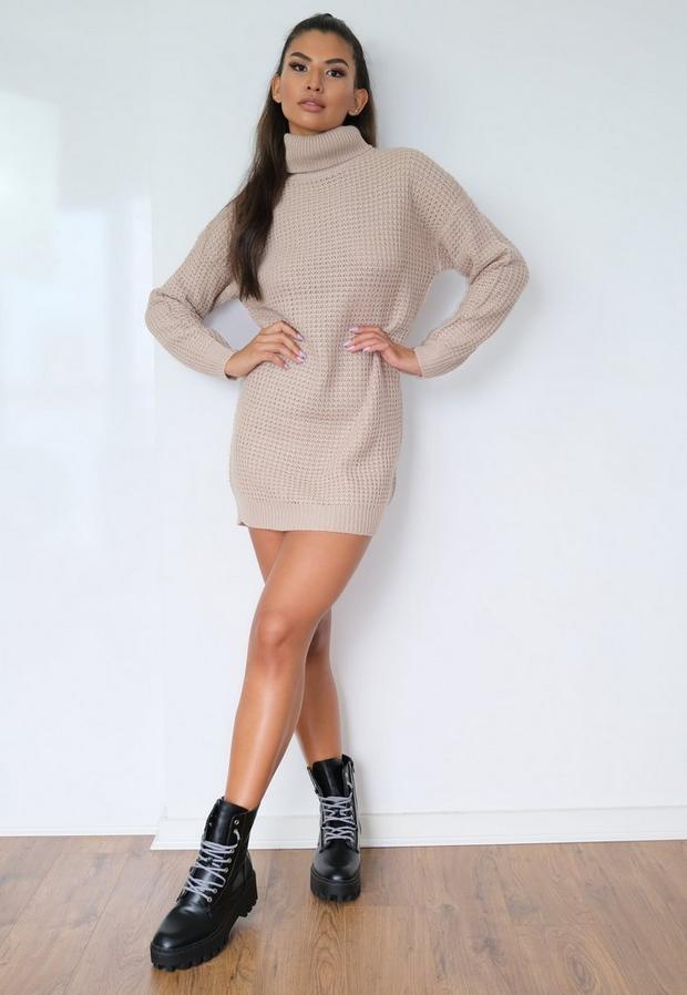 Stone Turtle Neck Sweater Dress