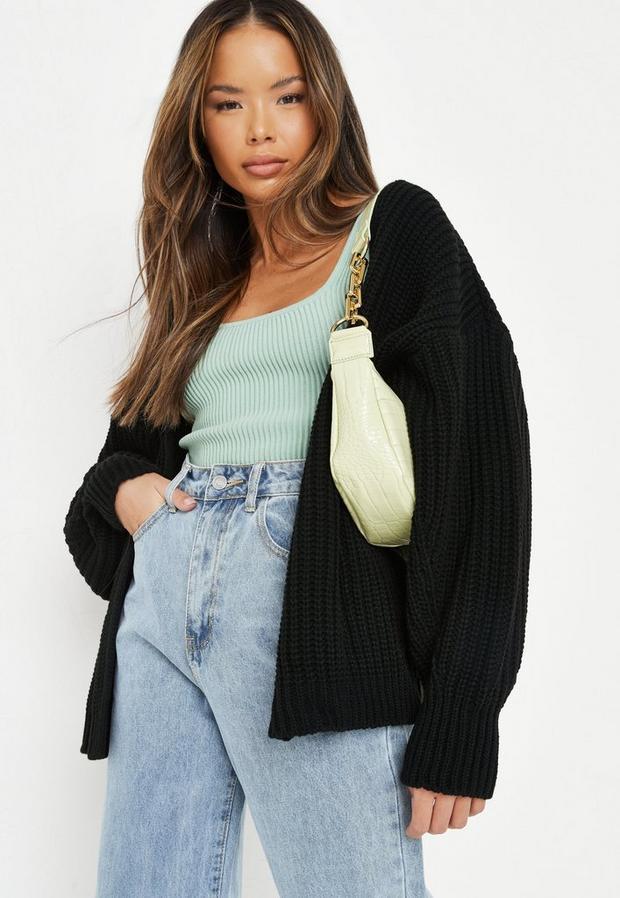 black knit batwing oversized longline cardigan