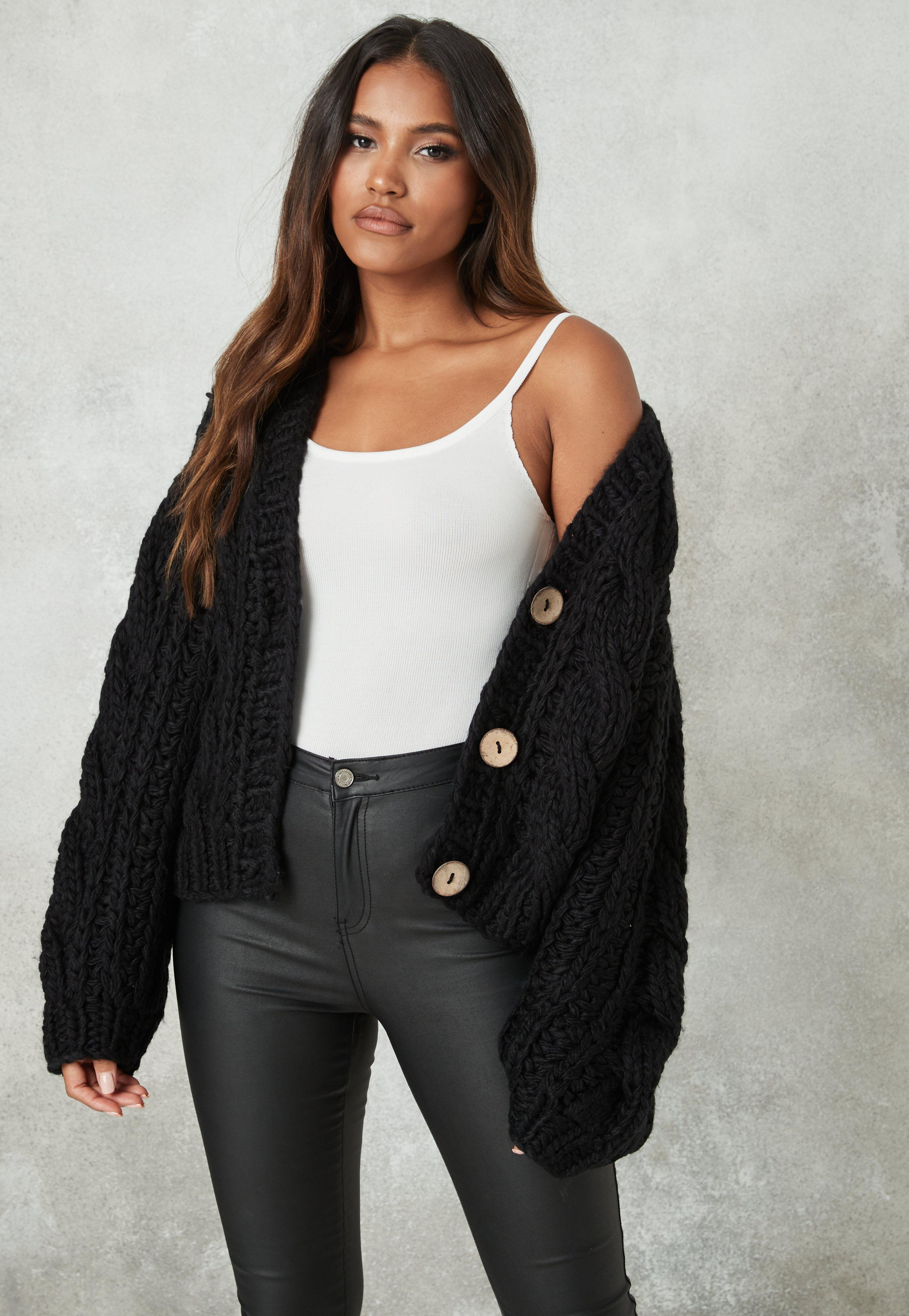 Missguided Black Chunky Hand Knit Cropped Cardigan