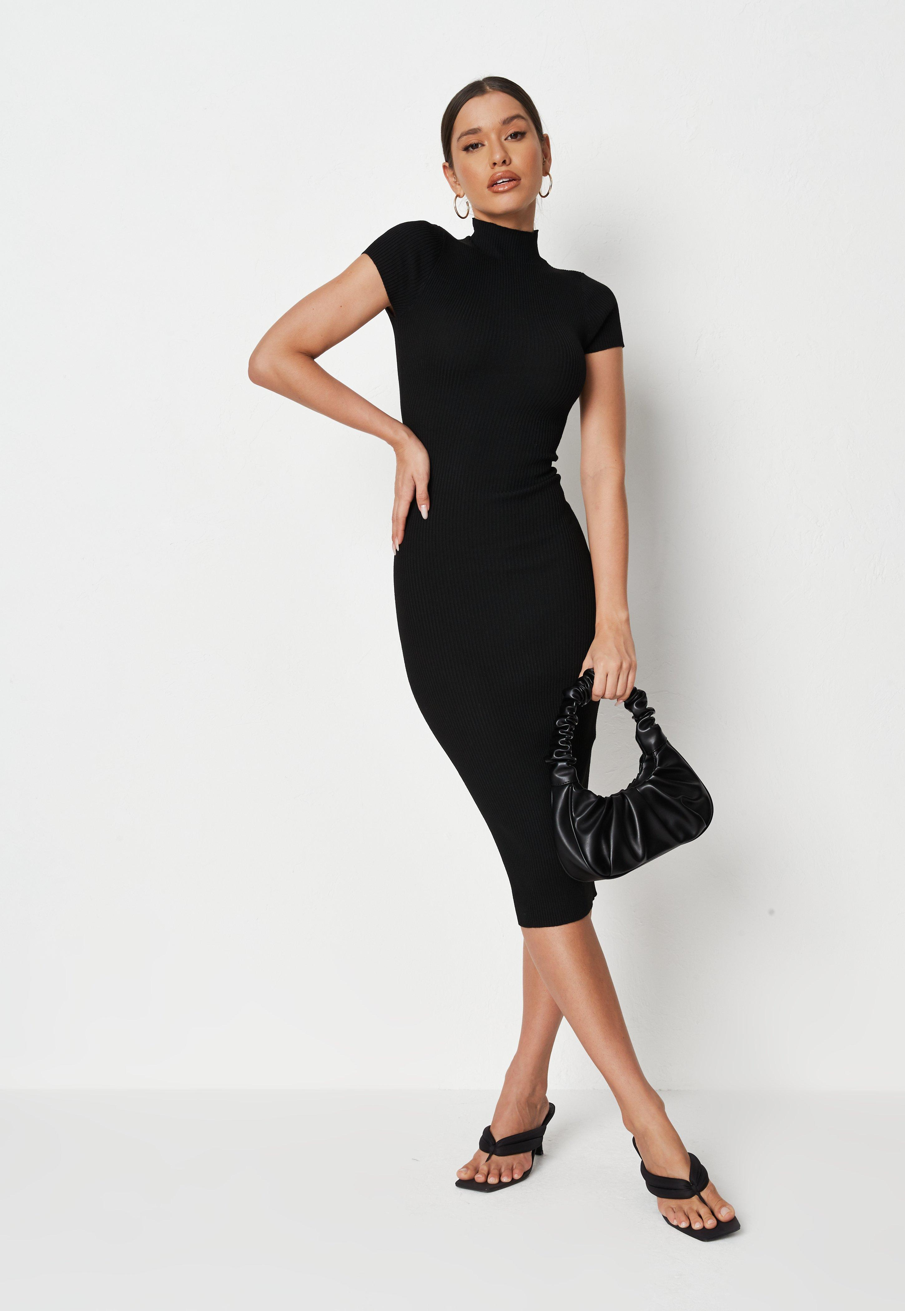 Recycled Black High Neck Cap Sleeve Knit Midi Dress