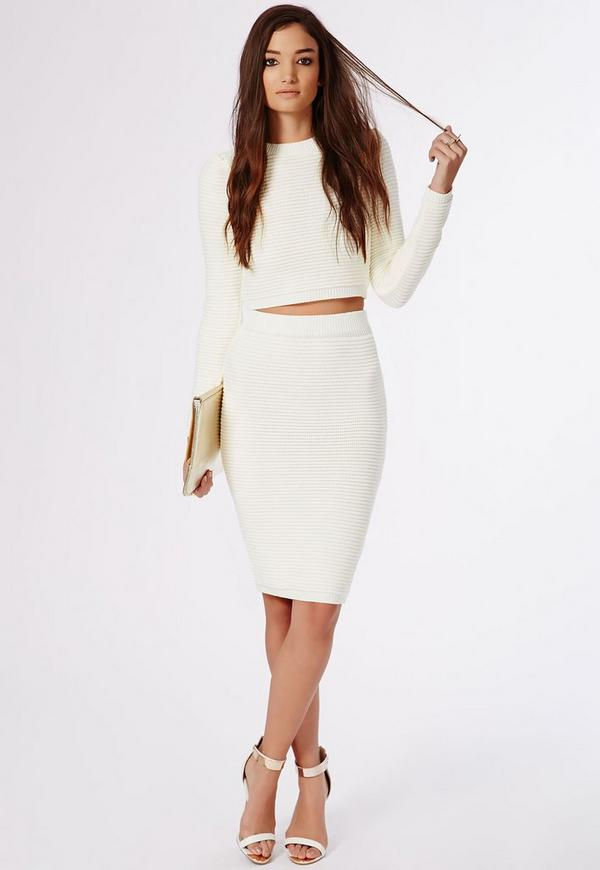 Horizontal Rib Knitted Midi Skirt Cream