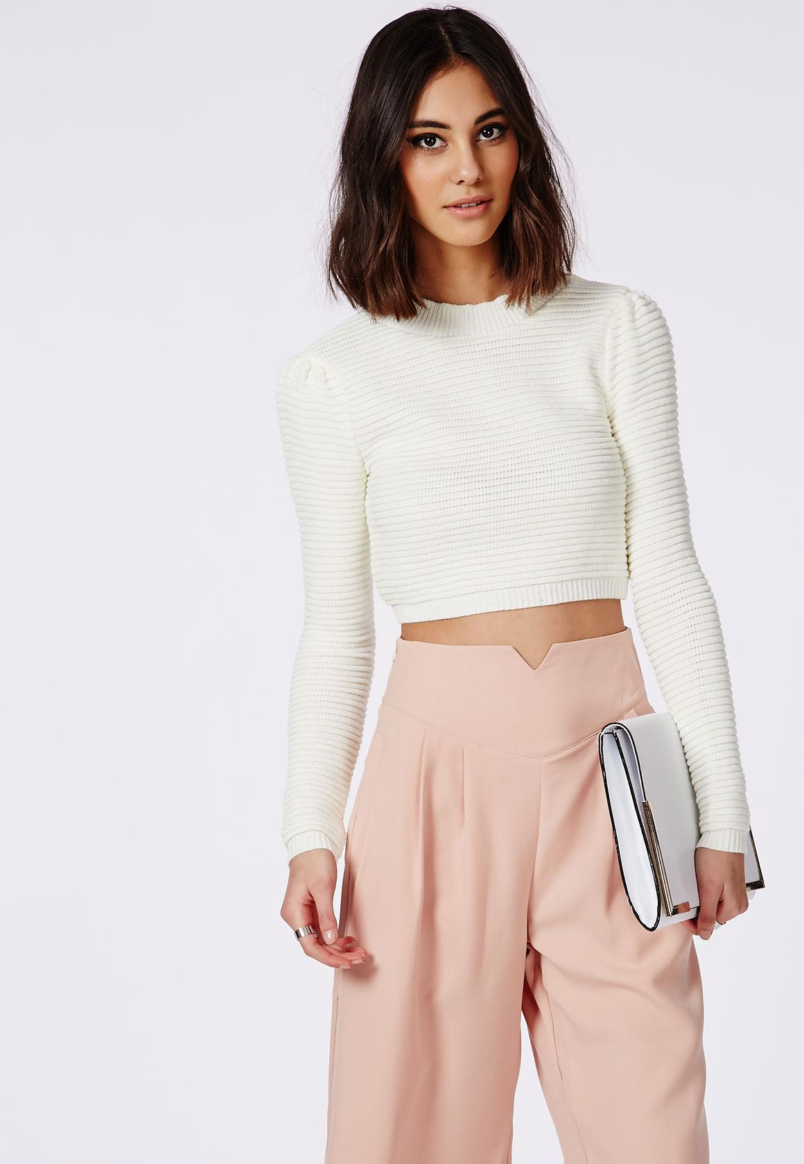 Horizontal Rib Knitted Cropped Sweater Cream | Missguided