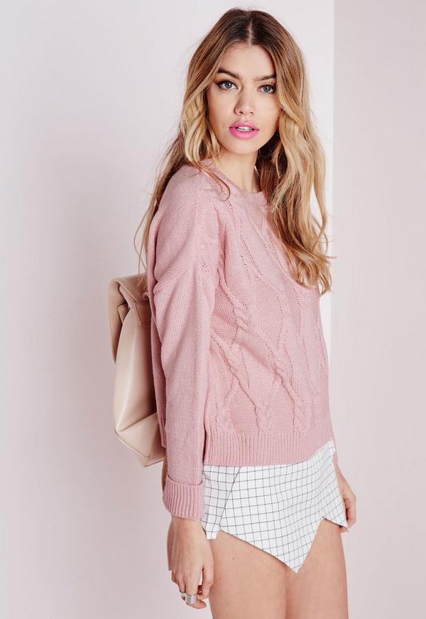 Cable Knit Drop Shoulder Jumper Pink
