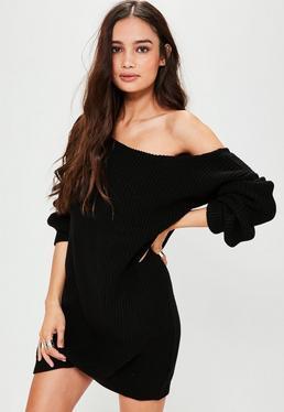 Czarna swetrowa sukienka z odkrytym ramieniem