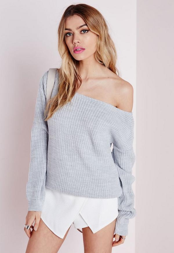 Ophelita Off Shoulder Knitted Jumper Grey